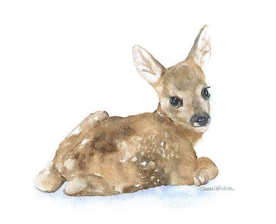 Watercolor Painting Deer Fawn Laying Down Giclee Print 8 x 10 Nursery Art