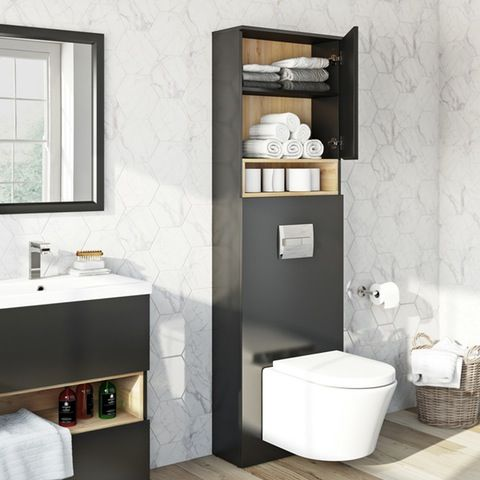 Mode Tate Anthracite Black Oak Slimline Tall Back To Wall Toilet Unit 550mm Back To Wall Toilets Black Bathroom Wall Hung Toilet