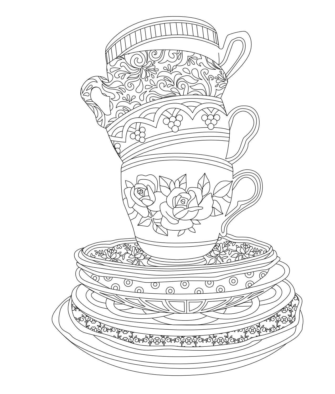 Elegant Tea Party Coloring Book   Coloring books, Tea parties and Teas