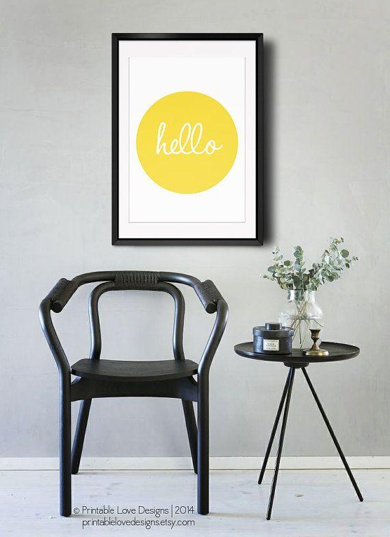 Hello Print || sunshine print, morning quote, greeting print, nursery art, yellow and black, sunshine poster, yellow sun print, hello poster...