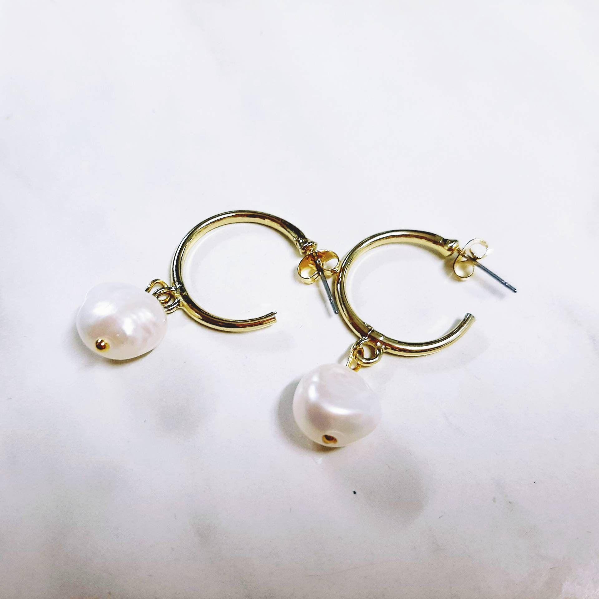 stud gold pearl earrings geometric earrings dangle pearl earrings gift for her Greek jewelry gift for wife Wedding pearl earrings