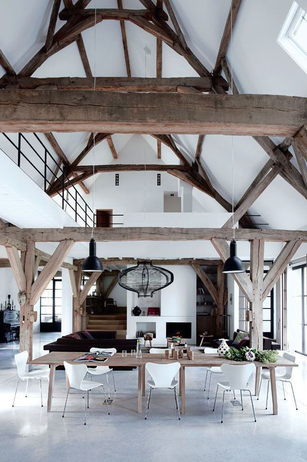 stylist and luxury decorative door stoppers. Those wood beams though  cotedemaison fr The post Former barn turned into a dramatic loft appeared first on Daily Dream Decor