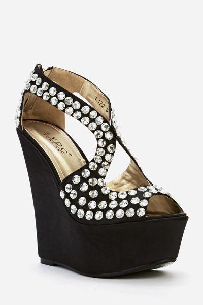 Diamanté Encrusted Wedge Sandals