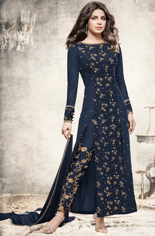 d0ddec4b09 Navy Blue Designer Embroidered Georgette Party Wear Pant Suit in ...