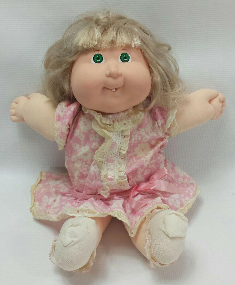 1988 Vtg Coleco Cabbage Patch Kids Doll Green Eye Cornsilk Blonde Grow Hair Girl Ebay Cabbage Patch Kids Dolls Patch Kids Cabbage Patch Kids
