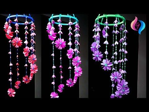 Paper wind chimes - How to make wind chime out of paper - Handmade paper wind chime - YouTube