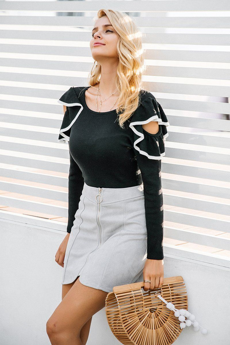 0ce09c7be61245 Product Description: Buy black or white ruffle round neck knitted casual  long sleeve sweater blouse