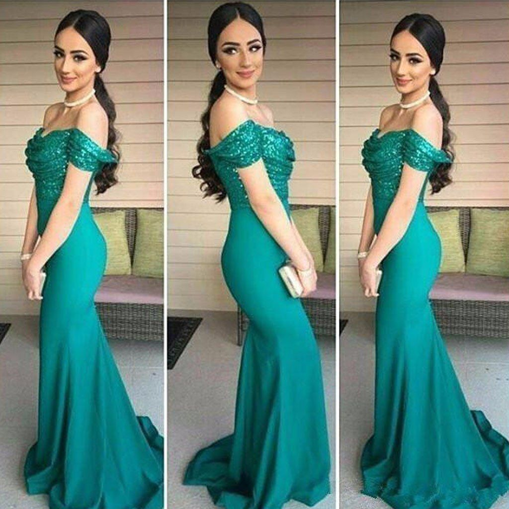 Off shoulder sequin turquoise evening prom dresses long mermaid