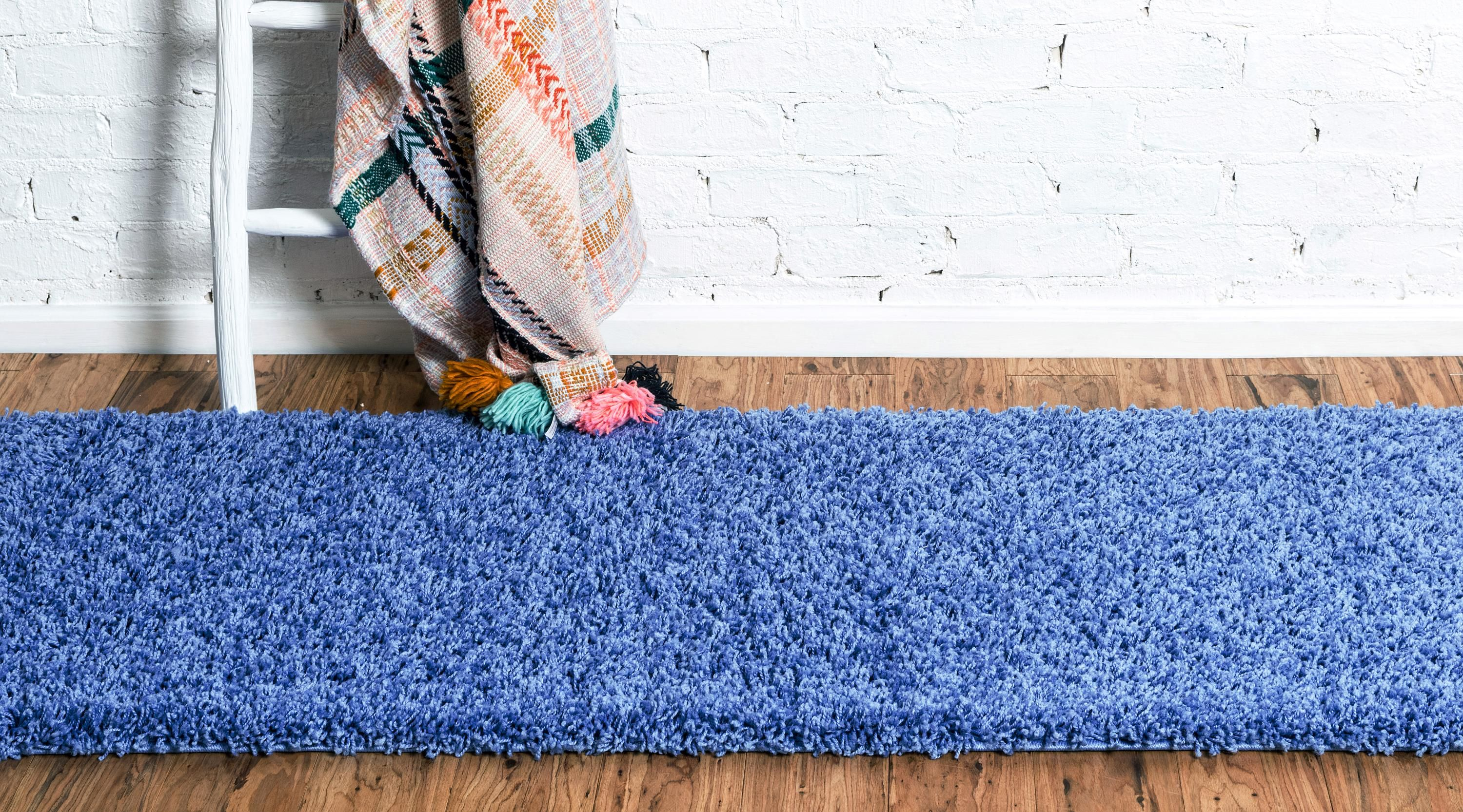 Periwinkle Blue 2 6 X 16 5 Solid Shag Runner Rug Affiliate Blue Periwinkle Solid Rug Runner Sponsored With Images Rug Runner Rugs Shed Colours
