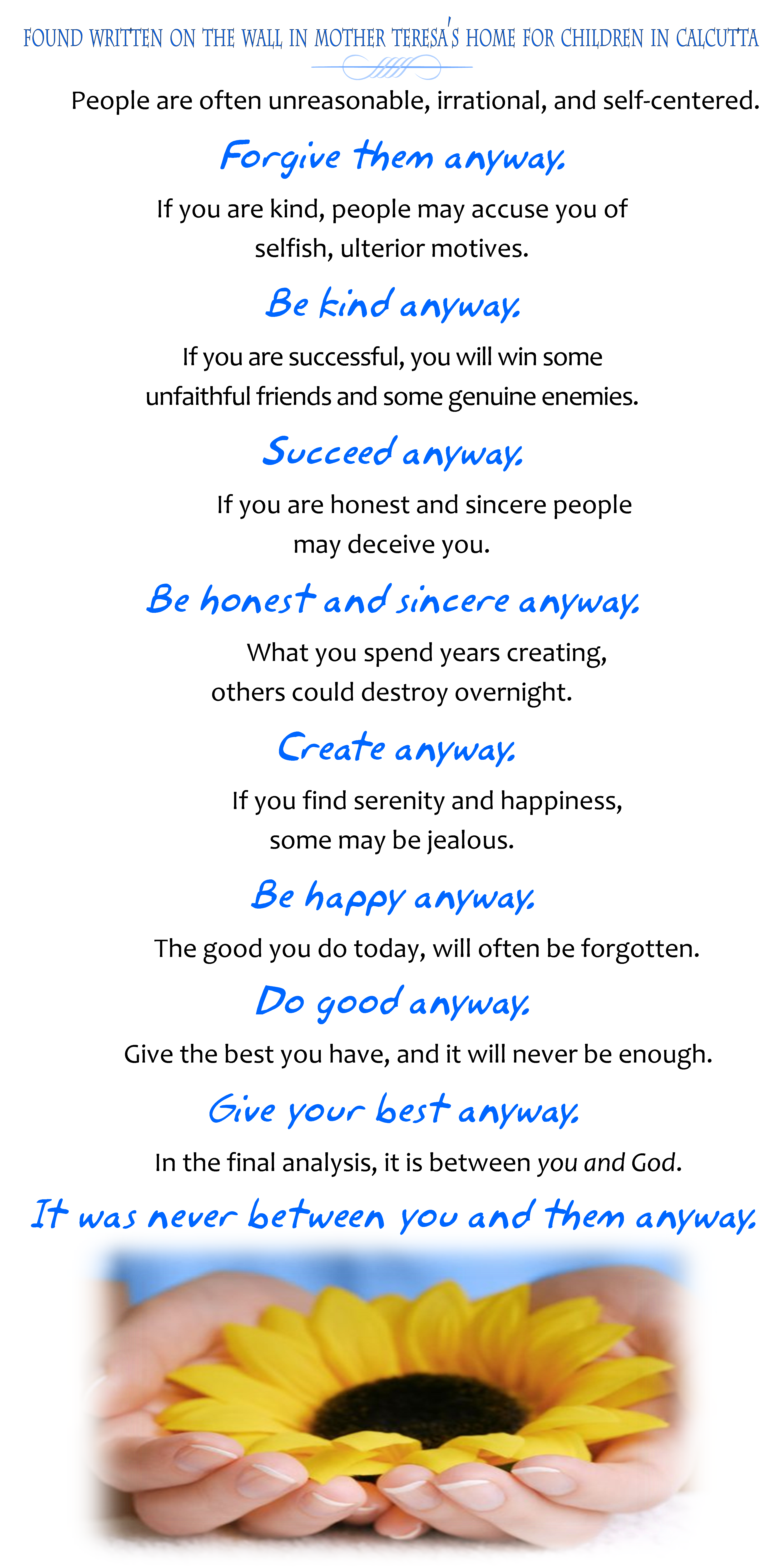 Mother Teresa Quotes Love Them Anyway Do It Anyway Posterversion Found On A Wall In Mother Teresa's