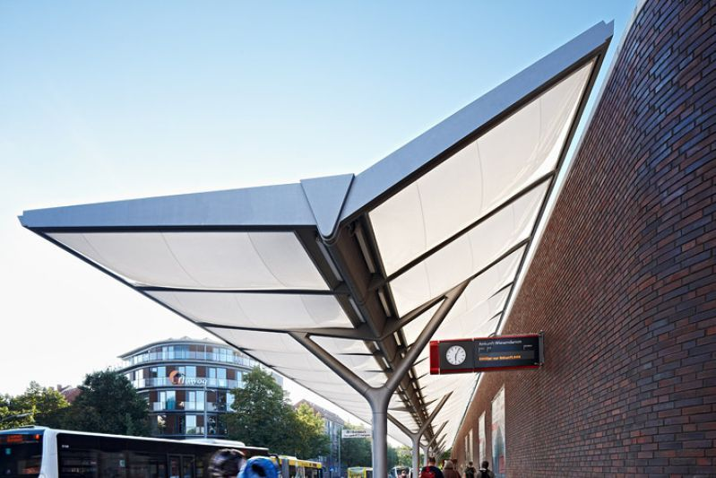 bus station hamburg barmbek membrane canopy of inflated etfe foil cushions page. Black Bedroom Furniture Sets. Home Design Ideas