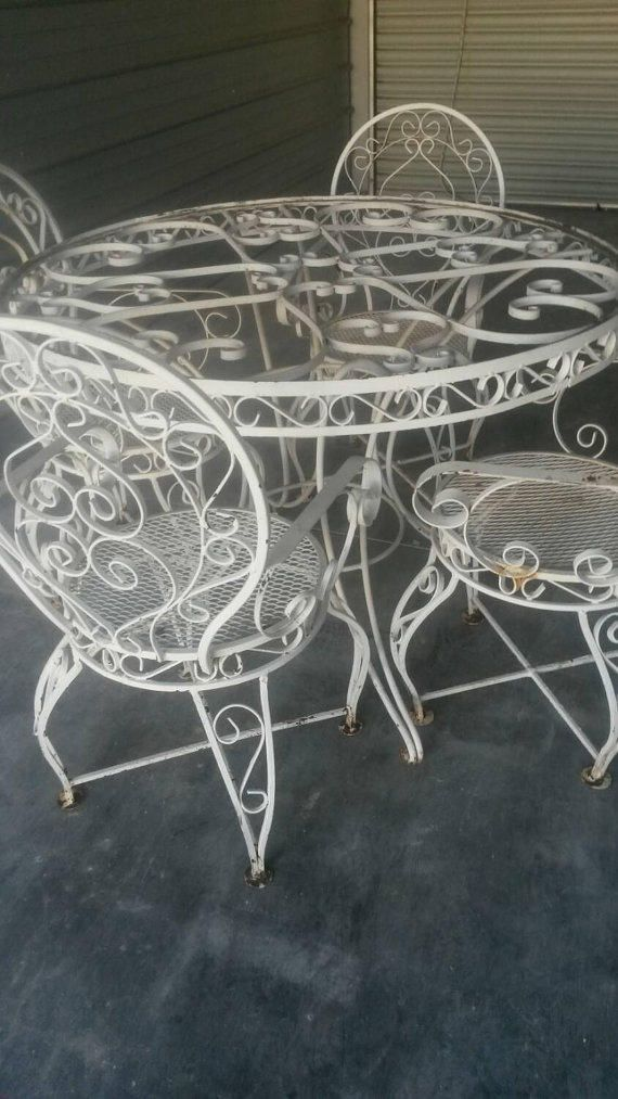 Wrought Iron Patio Set Ornate Vintage Table And 4 Arm Chairs White