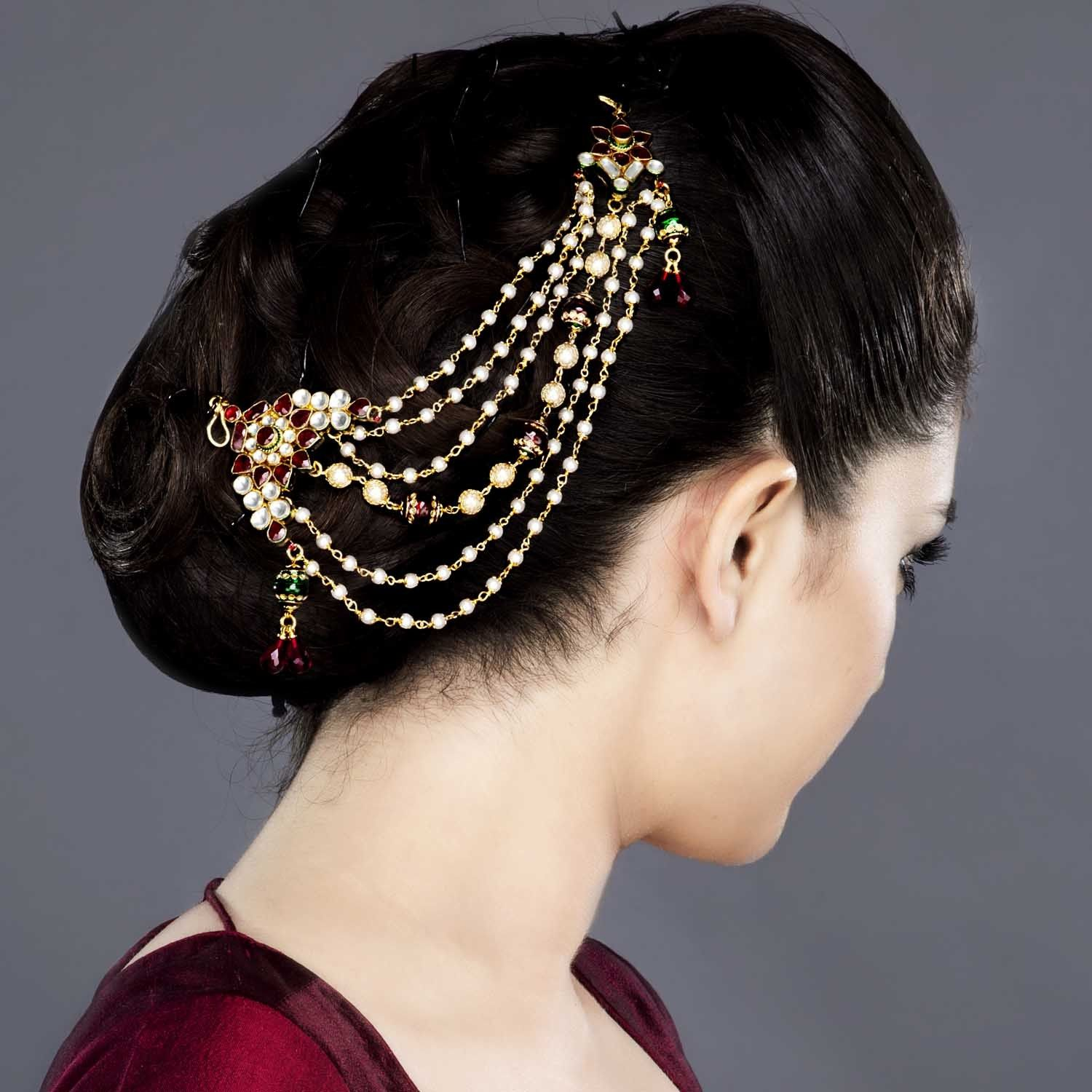 featuring this kundan and red stones hair accessory in our wide