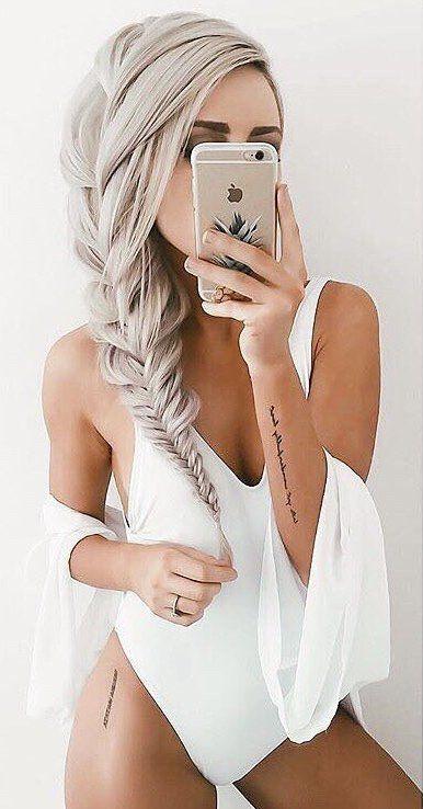 #summer #outfits White Kimono + White One Piece Swimsuit