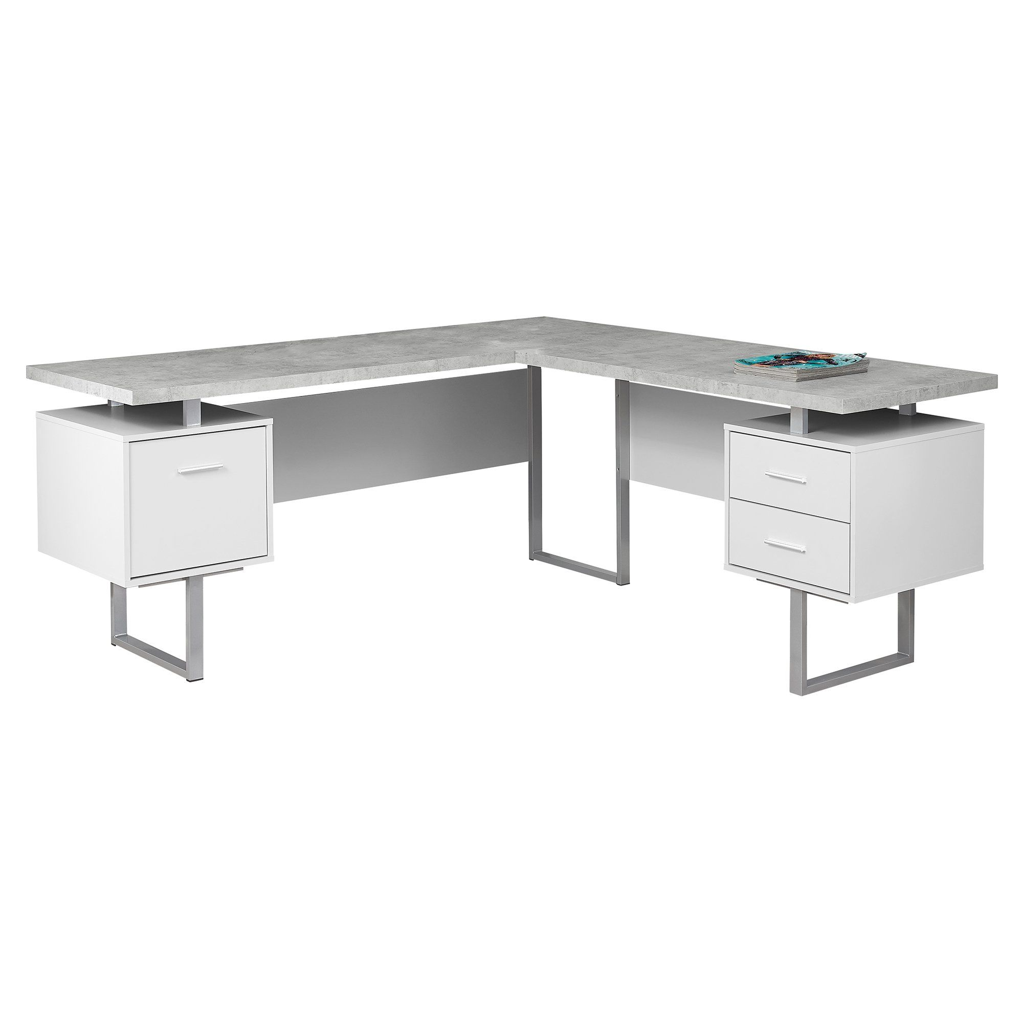 71 X 71 X 30 Grey Silver White Particle Board Hollow Core Metal Computer Desk Trivoshop In 2021 White Computer Desk Metal Computer Desk Corner Computer Desk