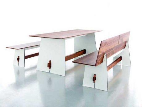 conmoto Tisch Tension Wood Weiß/Schwarze Kante (Nussbaum)