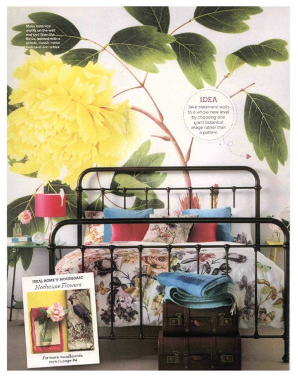 Draw focus to vintage floral wallpaper and bedlinen by teaming with simple accessories and furniture. #featherandblack