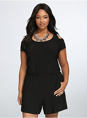 <p>Get ready to romp around; this relaxed romper is meant for adventuring. Black, linen-like fabric keeps you cool no matter the journey, cold shoulder cutouts let your shoulders get some sun. A gathered drop-waist will flatter any figure, double pockets are all set.