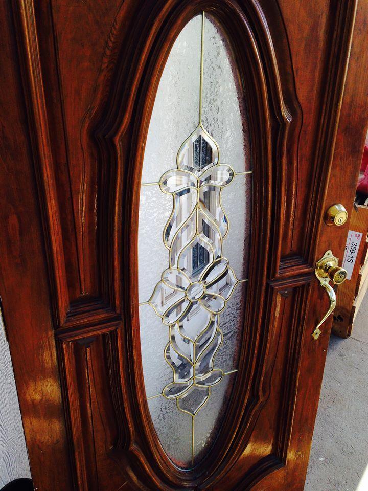 Vitral ovalo para puerta principal en ca uela de bronce - Cristales decorados para puertas ...