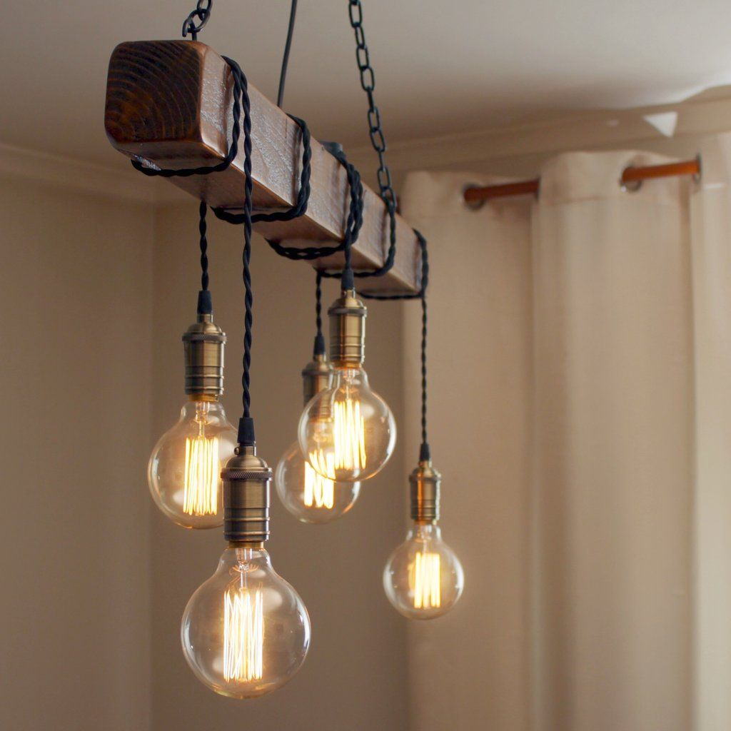 Handmade Rustic Wooden Chandelier Wood Beam Industrial Pendant Lamp Wooden Chandelier Industrial Pendant Lamps Rustic Light Fixtures