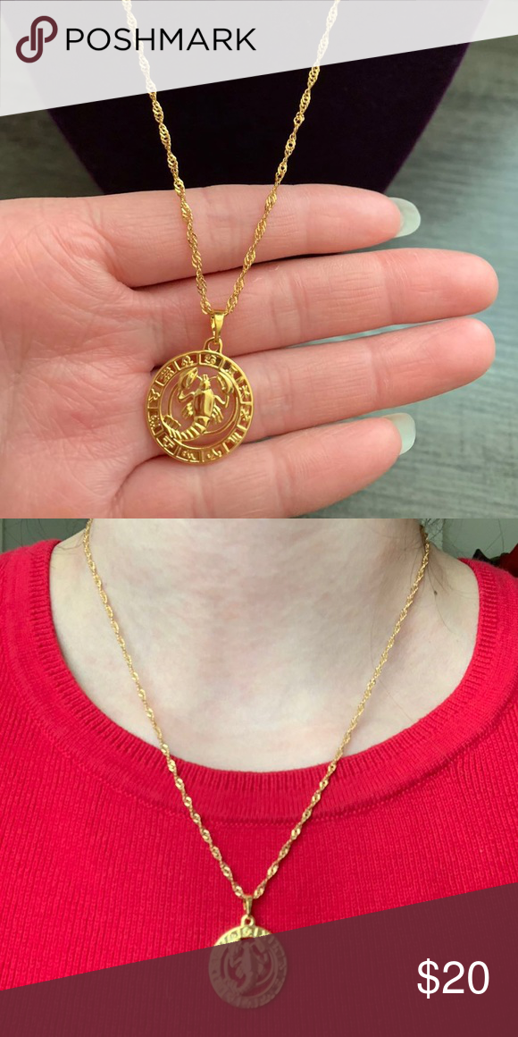 "Cancer Zodiac Sign 18K GF Necklace It's new without tag cancer zodiac sign 18K gold filled necklace  Size length: 17 1/2"" long  Hypoallergenic, Nickel Free Jewelry Necklaces"