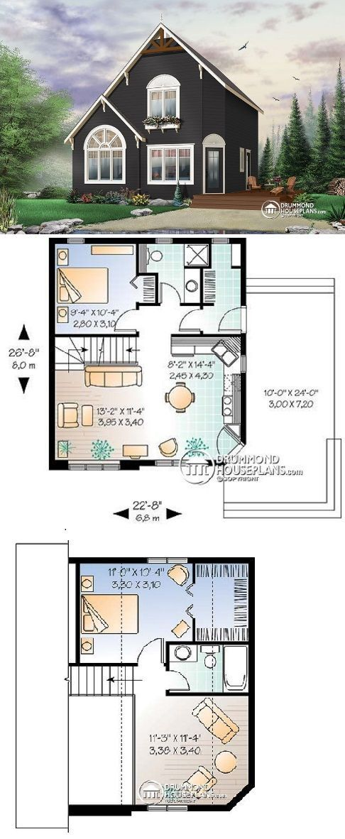 W2919 The Woodlet 991 Sq Ft House Plans Drummond House Plans In 2020 Craftsman House Plans Drummond House Plans Farmhouse Style House Plans