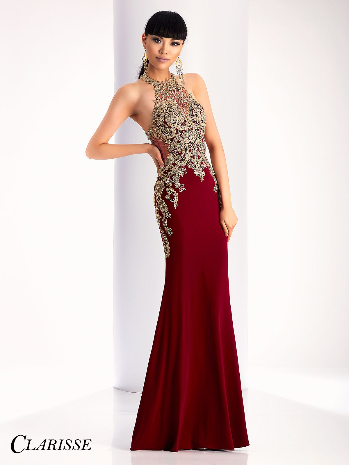 Clarisse Gold Lace Embellished Prom Dress 4819. Beautiful and elegant tight  fitted burgundy prom dress for 2017  470a7c5a8bb5