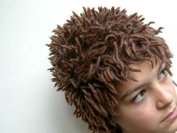 Knitted Fringe Hat Knitted Wig Chunky Chocolate Cocoa Etsy Wigs Crochet Wig Knitted