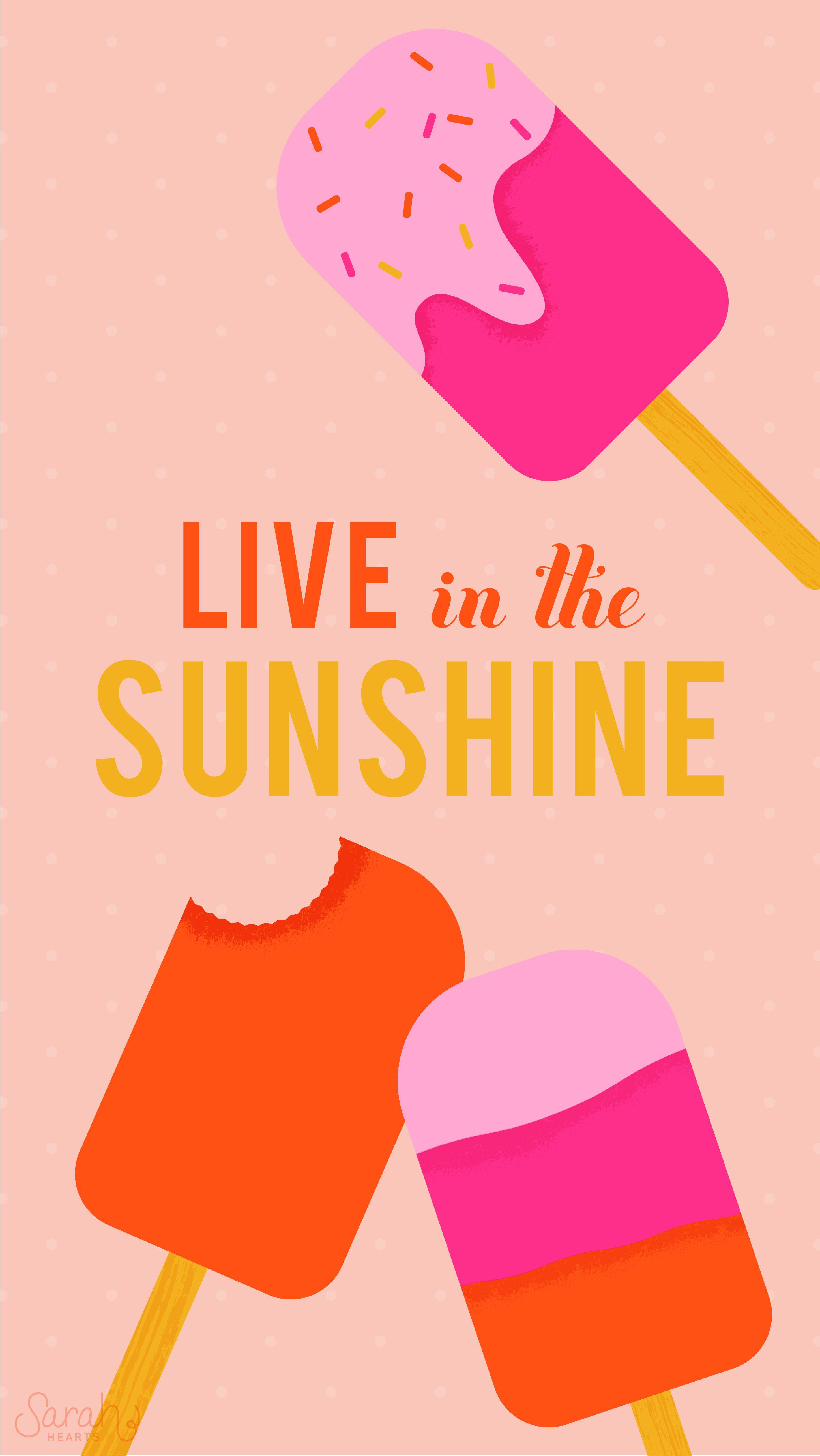 Sunshine Summer Ice Cream Pops iPhone Wallpaper Lock