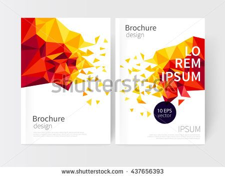 Yellow and red scatter triangles Minimalistic White cover - annual report cover template