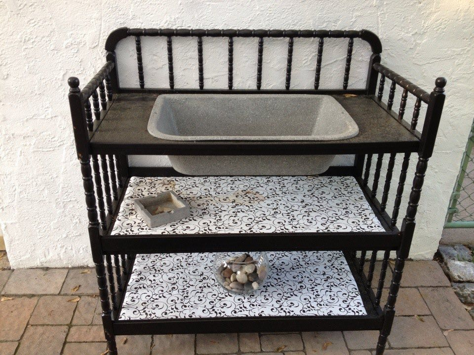 Old Changing Table And Vintage Sink Re Purposed Into A Dry Sink/bar Area For