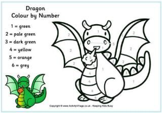 Dragon Colour by Number | englanti | Pinterest | Dragons, Number and ...