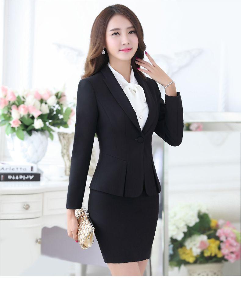 6c82f5b85 Profesional del otoño traje de negocios para mujer más tamaño falda ...
