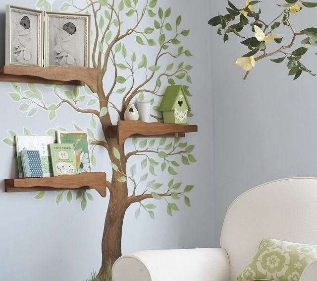 Wandgestaltung Kinderzimmer Wandfarbe Blaugrau Aufkleber Baum ... Babyzimmer Wandgestaltung Beispiele Neutral