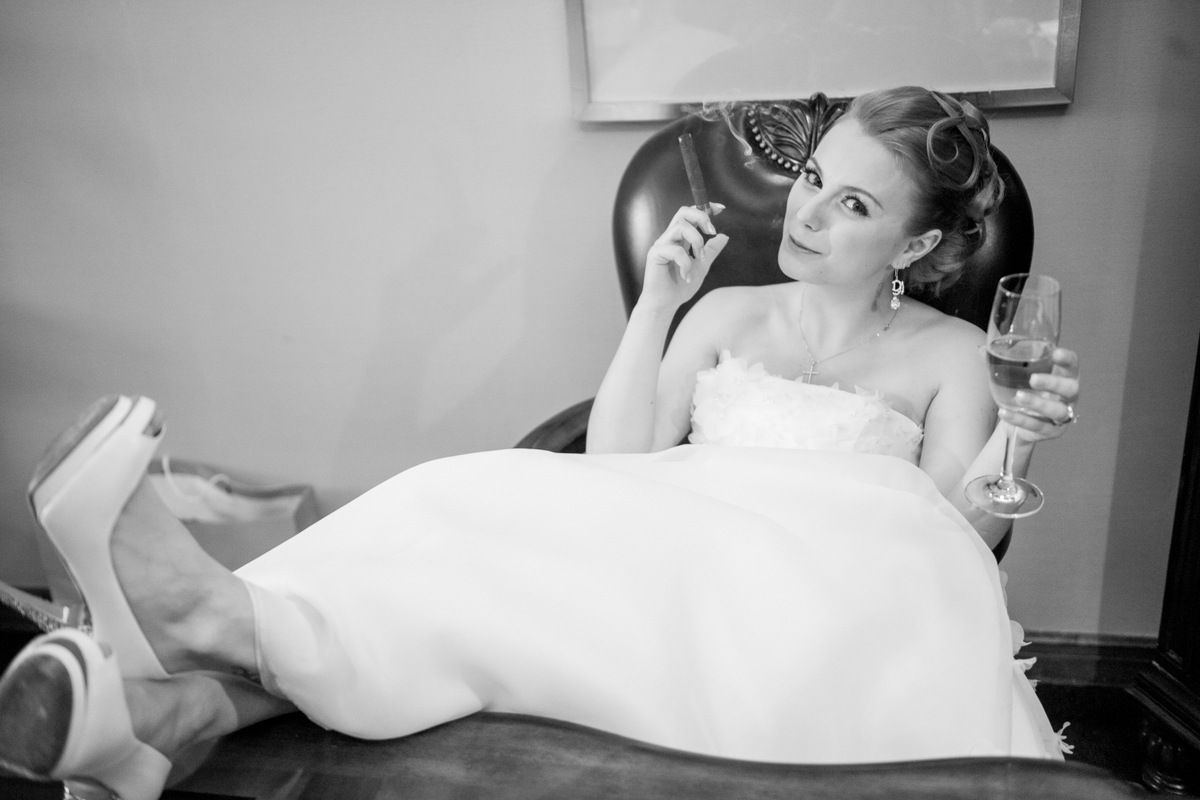 bride and the cigar... why not to show your true self))