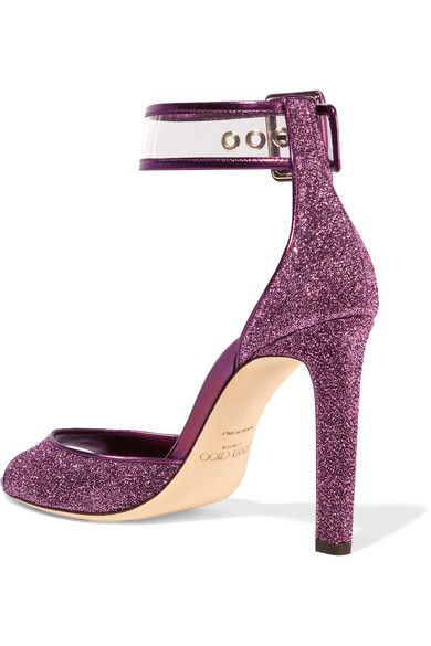 Heel Measures Approximately 100mm X2f 4 Inches Plum Lurex Clear Pvc Buckle Fastening Ankle Strap Designer Color Jazberry Made In Pvc Trim Jimmy Choo Heels
