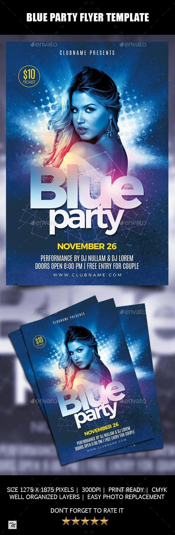 Blue Party Flyer Template  Party Flyer Flyer Template And Blue Party