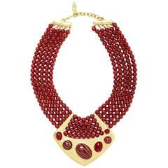 Yves Saint Laurent Multistrand Bib Necklace with Hammered Gold Detail