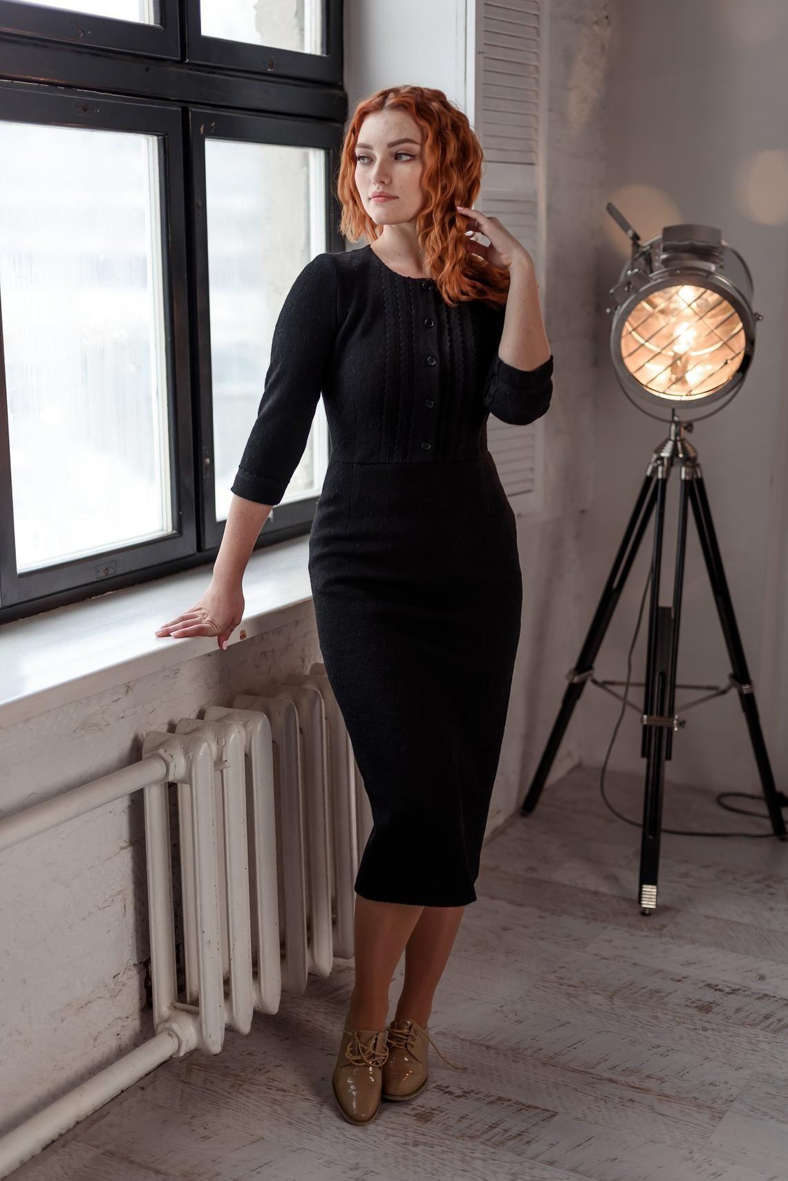 Little Black Dress Office Dress Wool Dress Fitted Dress Etsy In 2021 Black Dress Winter Black Long Sleeve Dress Black Dress Outfits [ 1707 x 1140 Pixel ]