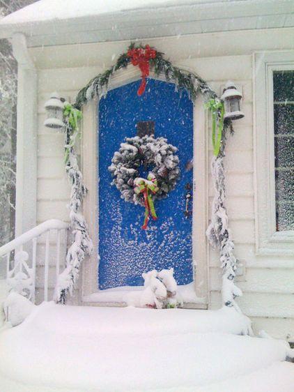 Blue door in winter