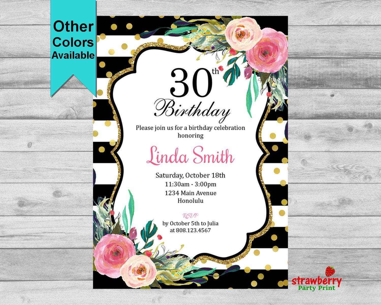 Th Birthday Invitation Floral Birthday Invitation Black - Birthday invitation 30 years old