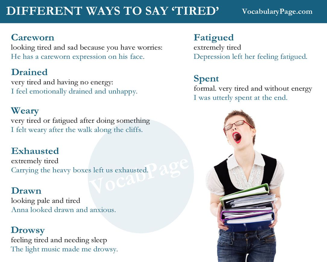 Different Ways To Say Tired English Www Vocabularypage Com Vocabulary Other Ways To Say Learn English Grammar