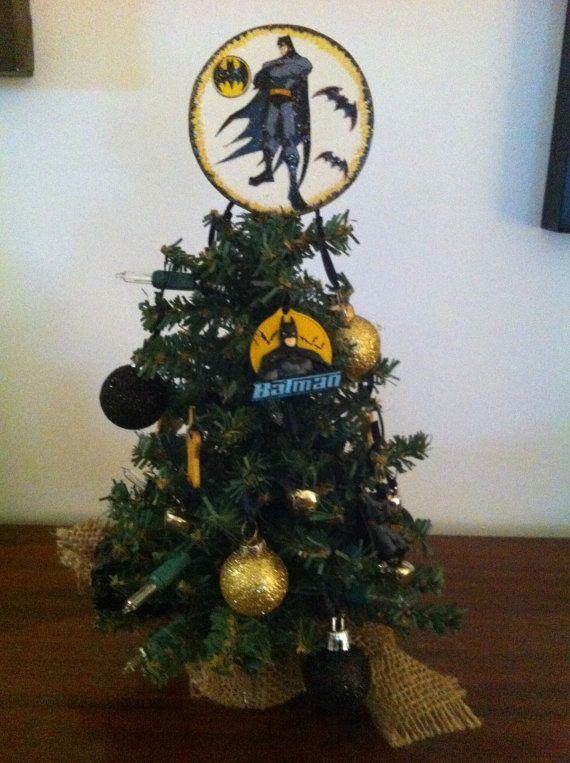Batman Christmas Tree 12 Inch Tall With Lights By Heavenlydesigns1 20 00 Batman Christmas Tree Christmas Decorations Xmas Tree