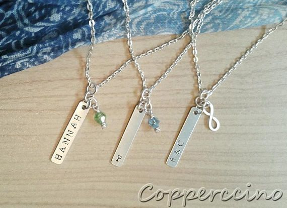 Personalized name or initials necklace hand stamped pendants personalized name or initials necklace hand stamped pendants aluminum initial necklaces initials and pendants mozeypictures Gallery