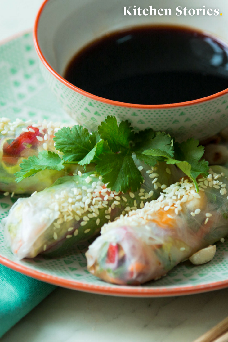Vietnamesische Sommerrollen Veganes Rezept Kitchen Stories Rezept Rezepte Nahrstoffreiche Rezepte Vegane Rezepte Gesund