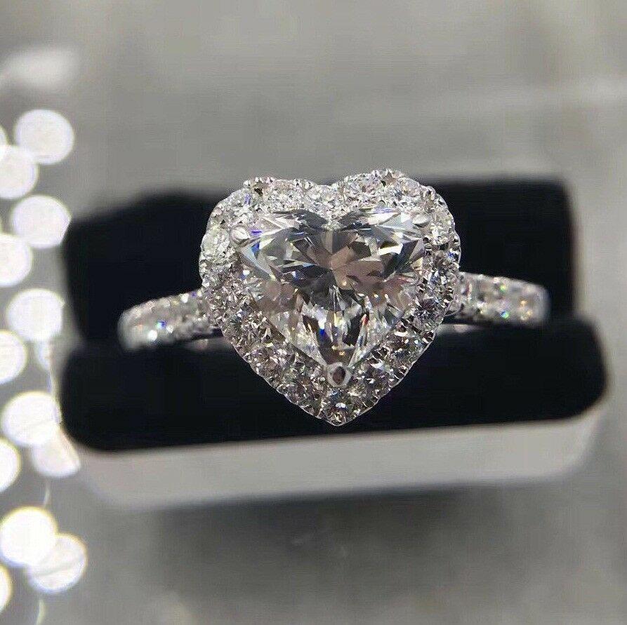 2.50CT Lovely Cushion Diamond Halo Promise Engagement Ring 14K White Gold Fn