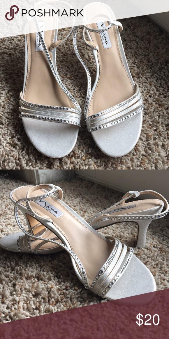 dd0e959fd06 Sparkling silver heels Around 1 inch sparkling silver heels