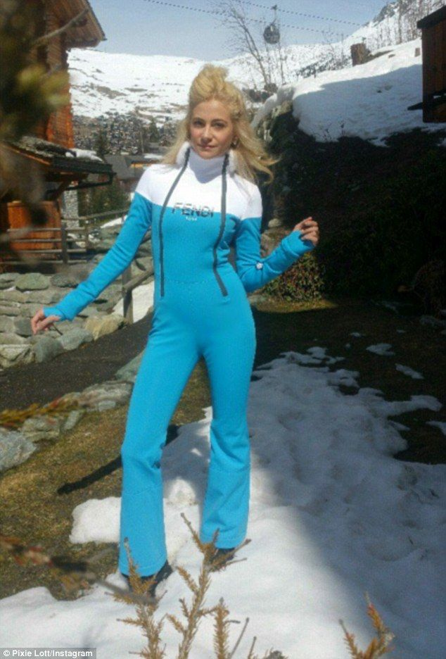 ce81832184 Ski chic  Pixie Lott showed off her enviable shape in a skintight ski  jumpsuit on Tuesday