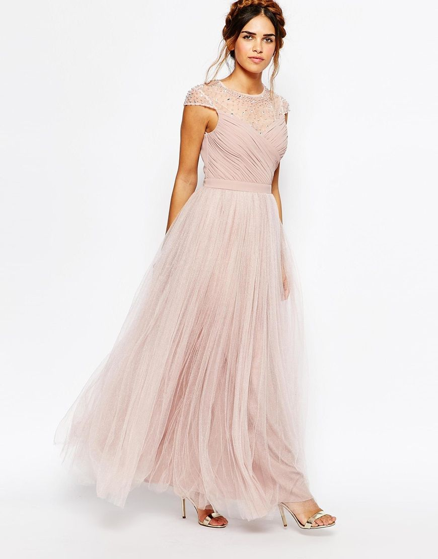 3bf6f79a92 Little Mistress – Ruched Bodice Maxi Dress With Pleated Tulle Skirt from  ASOS (see more