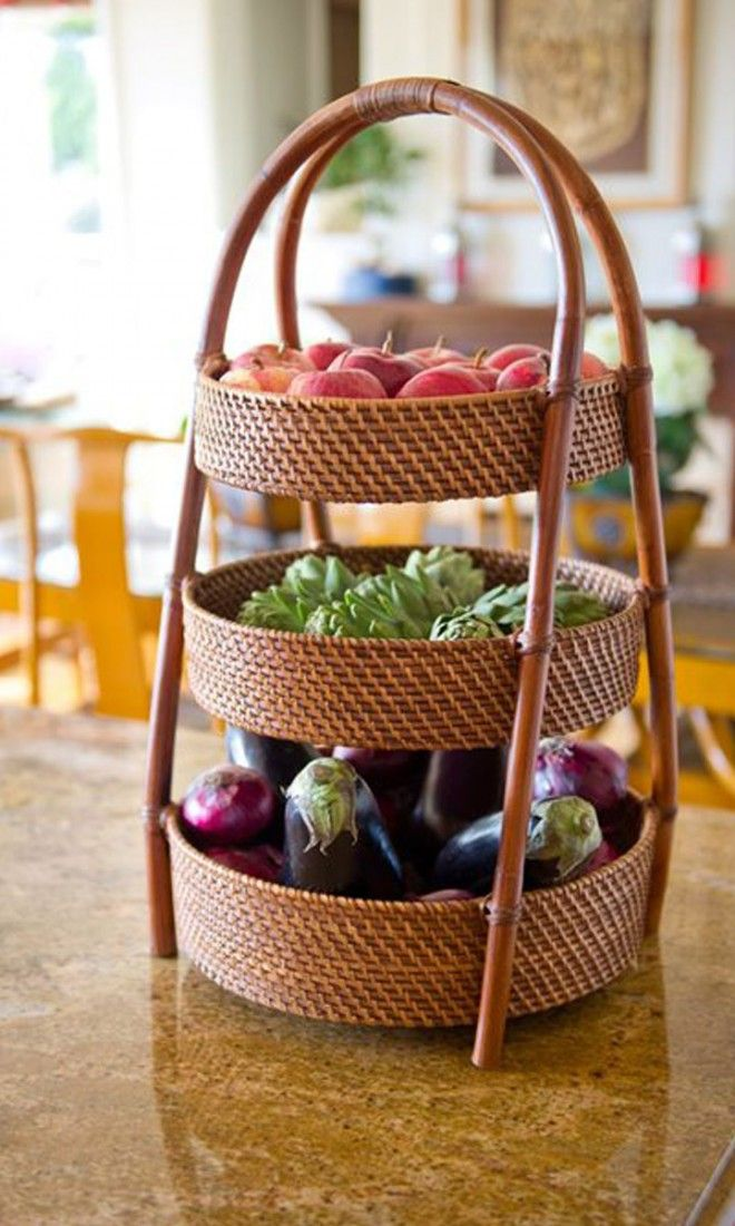 3-tier fruit basket - great for vegetables too! Great idea ...